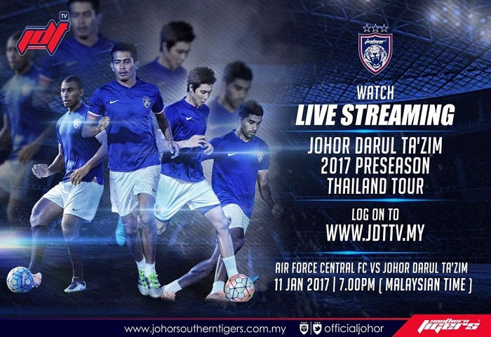 Pra-musim Thailand 2017: Air Force Central FC Vs JDT Live Streaming