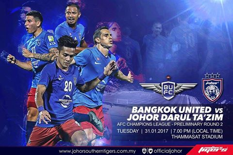 Piala ACL 2017 Bangkok united vs JDT