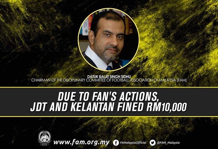 JDT Didenda RM10 Ribu Atas Kesalahan Penyokong Sendiri