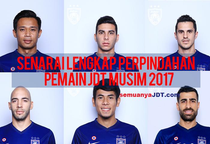 Senarai Lengkap Perpindahan Pemain JDT Musim 2017