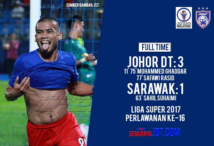 Liga Super 2017: JDT 3 Sarawak 1, JDT Semakin Menghampiri Gelaran Juara