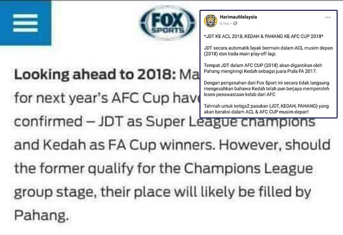 Adakah JDT Akan Bermain Di Piala ACL 2018 Berdasarkan Kenyataan Dari Fox Sports?