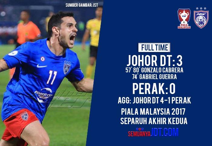 Piala Malaysia 2017: JDT 3 Perak 0, Harimau Selatan Mara Ke Akhir