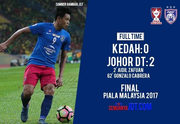 Piala Malaysia, JDT 2 Kedah 0, Piala Malaysia Melengkapkan Trofi Domestik JDT