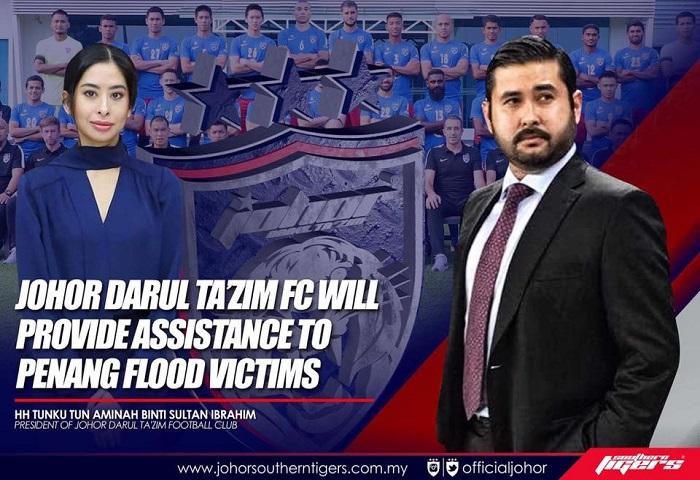 JDT Beri Duit Kemenangan Piala Malaysia Kepada Mangsa Banjir Pulau Pinang