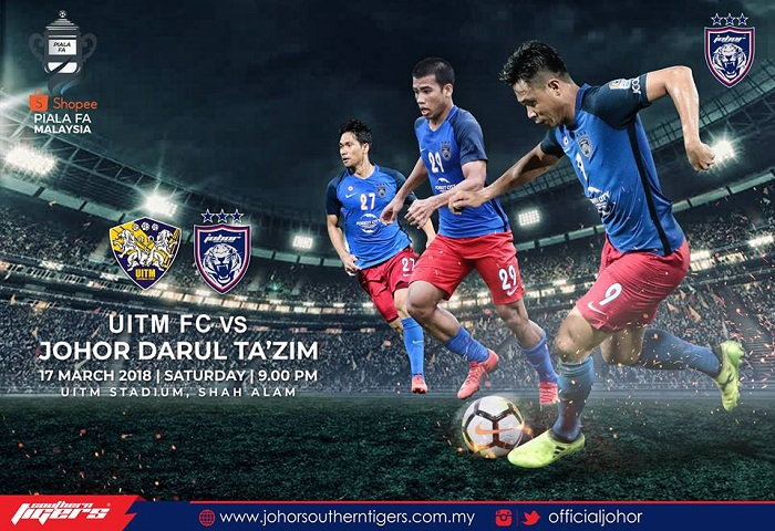 Piala FA 2018: Uitm FC Vs JDT Live Streaming (17/03/2018)