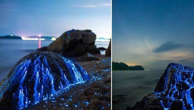 Jurugambar Berjaya Mengambil Gambar Batu Sedang Mengalirkan Air Mata Biru. Fenomena Yang Sungguh Mengasyikkan