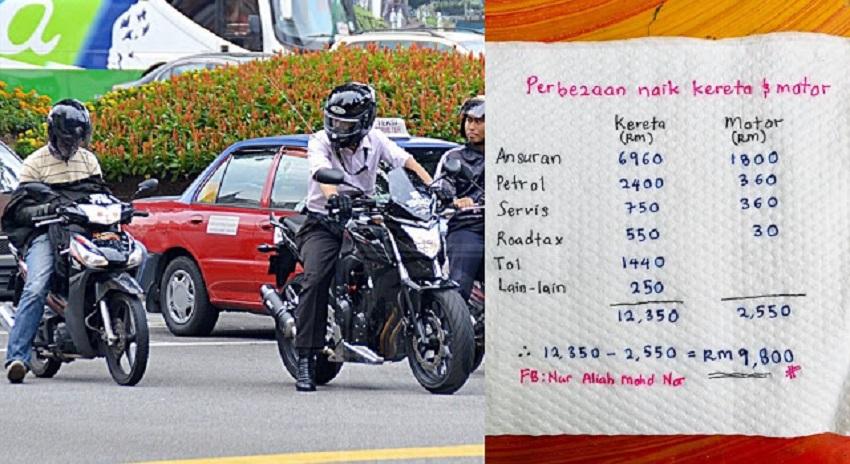 Naik Motor Pergi Tempat Kerja Sebenarnya Boleh Jimat Hampir RM10,000 Setahun