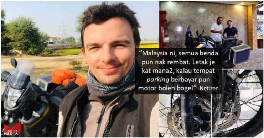 Pergi Negara Lain Okey Je. Brek Moto Lelaki Perancis Dicuri, Memalukan Malaysia Betul